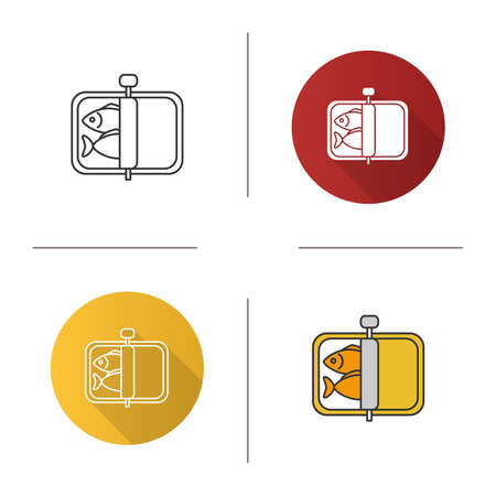 Sprats icon. Canned fish. Flat design, linear and color styles. Isolated vector illustrations