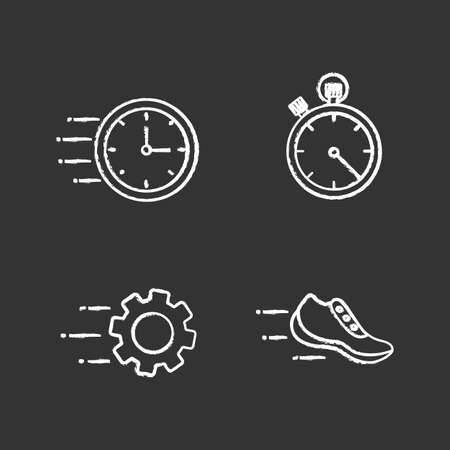 Motion chalk icons set. Speed. Flying clock, stopwatch, gear, sneaker. Isolated vector chalkboard illustrations