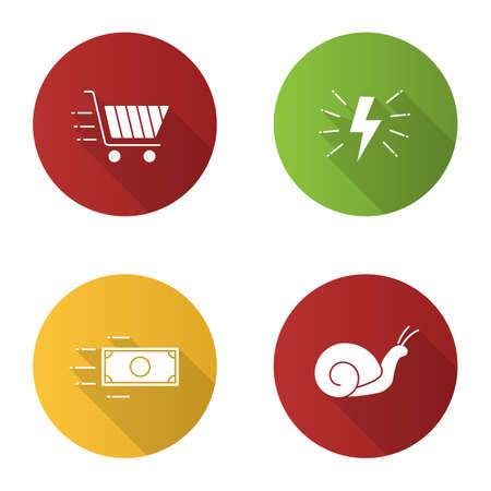 Motion flat design long shadow glyph icons set. Speed. Lightning bolt, snail, flying paper dollar and shopping cart. Vector silhouette illustration