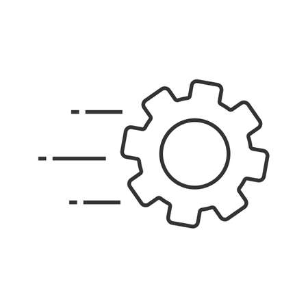 Flying cogwheel linear icon. Technological progress. Thin line illustration. Gear. Engineering services. Contour symbol. Vector isolated outline drawing Illustration