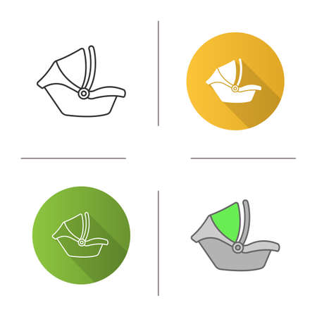 Baby car seat icon. Infant safety seat. Child restraint system. Flat design, linear and color styles. Isolated vector illustrations