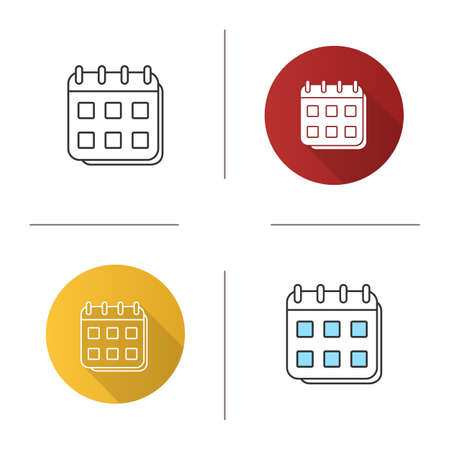 Calendar icon. Schedule. Flat design, linear and color styles.