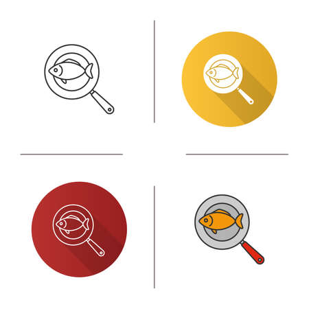 Fish on frying pan icon. Flat design, linear and color styles.