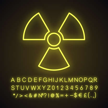 Atomic power sign neon light icon. Atomic energy using. Safe nuclear power. Glowing sign with alphabet, numbers and symbols. Vector isolated illustration