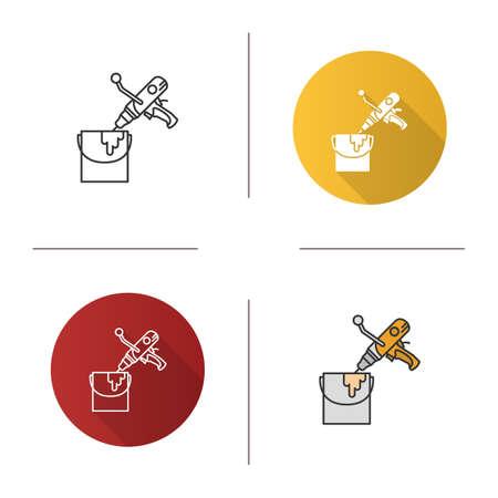 Paint mixer in bucket icon. Hand held cement mixer.