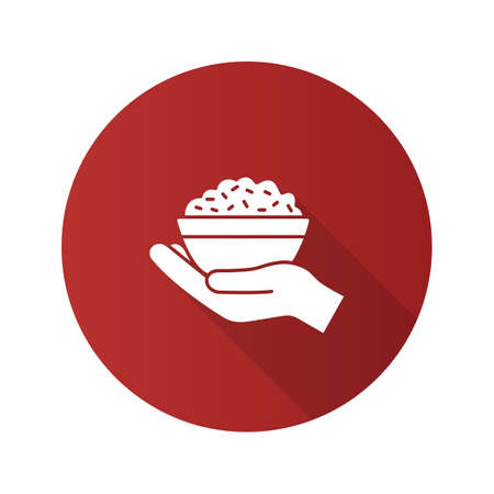 Food donation flat design long shadow glyph icon. Open hand with a rice bowl.