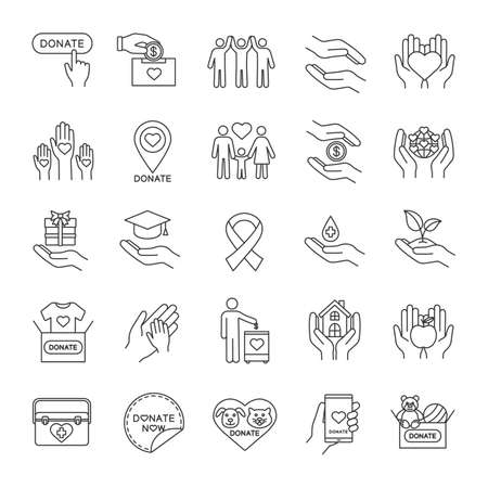 Charity linear icons set. Thin line contour symbols.