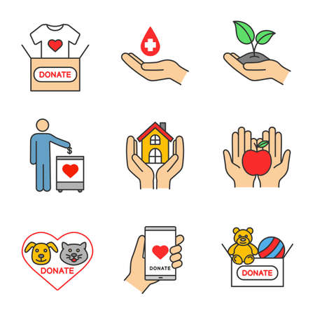 Charity colour icons set. 向量圖像