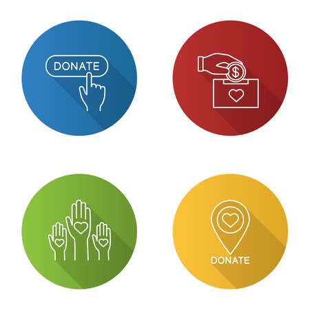 Charity flat linear long shadow icons set.
