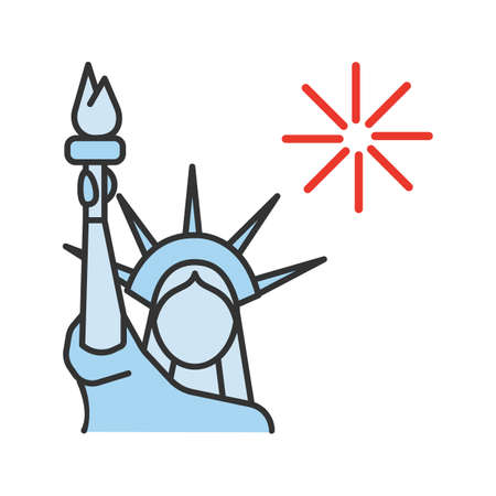 The Statue of Liberty color icon. Independence Day. July 4th. Isolated vector illustration