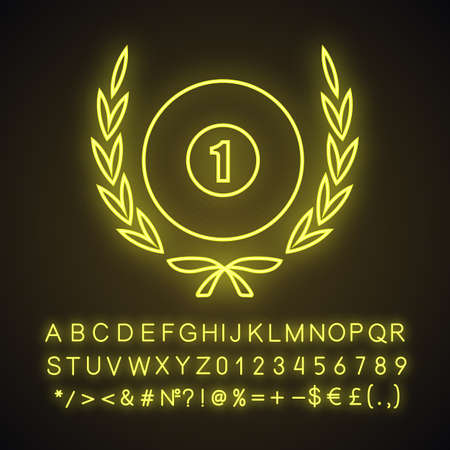 Billiard championship symbol neon light icon. Billiard ball in laurel wreath. Glowing sign with alphabet, numbers and symbols. Vector isolated illustration Illustration