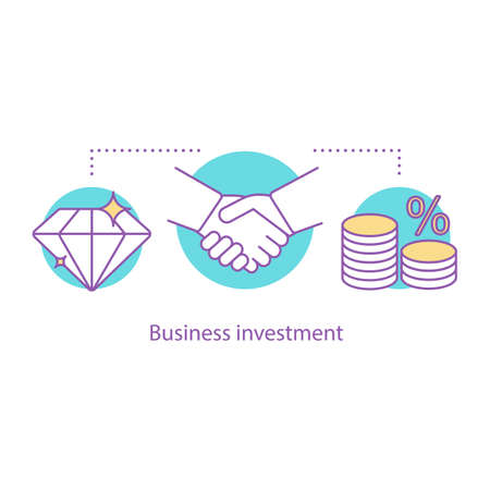 Business investment concept icon. Partnership idea thin line illustration. Business deal. Agreement. Vector isolated outline drawing