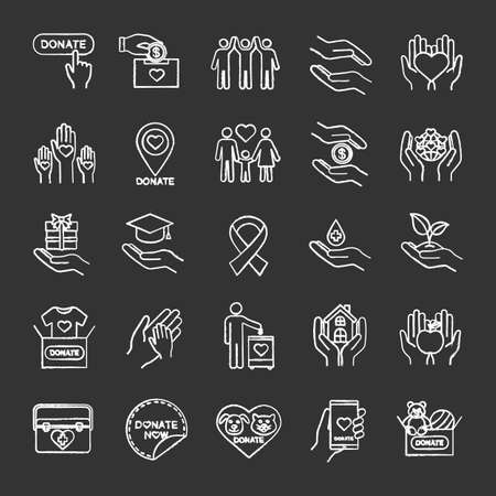 Charity chalk icons set. Donation. Fundraising, helping hands, volunteering, humanitarian aid. Isolated vector chalkboard illustrations