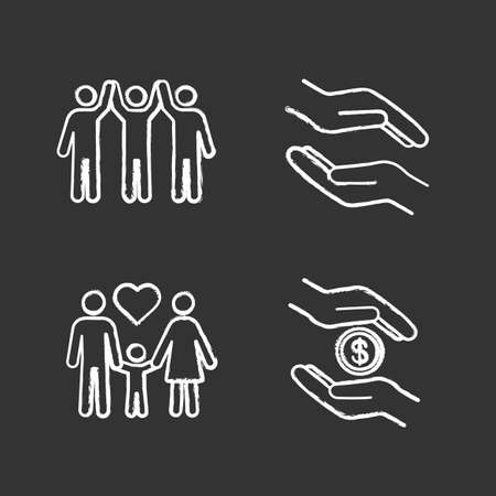 Charity chalk icons set. Helping hands, adoption, charity organization. Isolated vector chalkboard illustrations