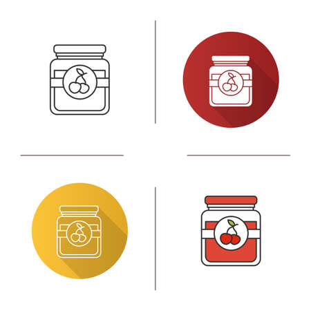 Cherry jam jar icon. Fruit preserve. Flat design, linear and color styles. Isolated vector illustrations Illustration
