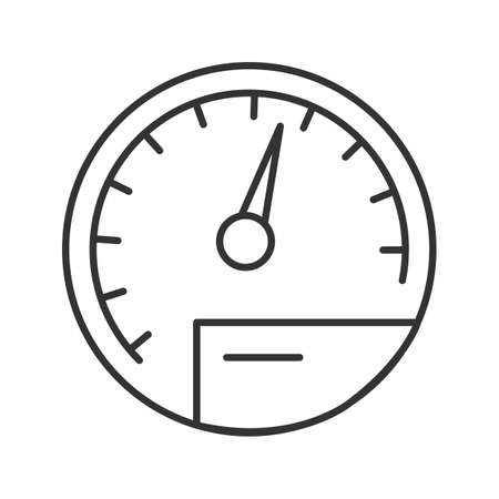 Speedometer linear icon. Thin line illustration. Dashboard. Contour symbol. Vector isolated outline drawing