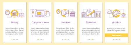 School subjects onboarding mobile app page screen with concepts. History, computer science, literature, economics, visual art steps graphic instructions. UX, UI, GUI vector template with illustrations