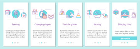 Childcare onboarding mobile app page screen with concepts. Feeding, changing diapers, playing games, bathing, sleeping time steps graphic instructions. UX, UI, GUI vector template with illustrations