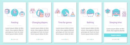 Schermata della pagina dell'app mobile per l'onboarding dell'infanzia con i concetti. Istruzioni grafiche per l'alimentazione, il cambio dei pannolini, i giochi, il bagno, il sonno. Modello vettoriale UX, UI, GUI con illustrazioni