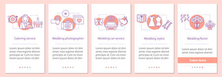 Wedding services onboarding mobile app page screen with linear concepts. Catering, photographer, car, stylist, florist steps graphic instructions. UX, UI, GUI vector template with illustrations