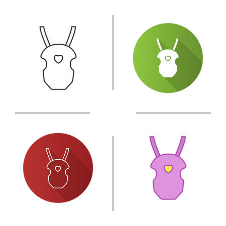 Baby carrier icon. Baby carrying bag. Flat design, linear and color styles. Isolated vector illustrations