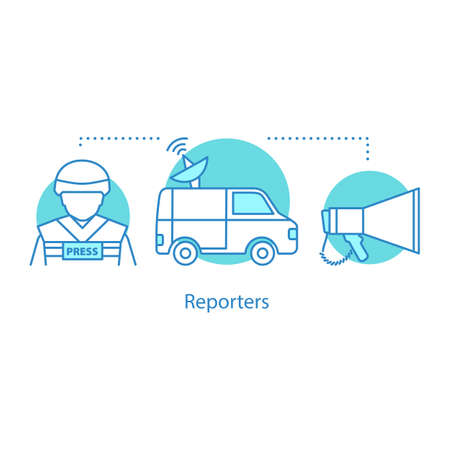 Reporters concept icon. War journalism idea thin line illustration. News van, war correspondent, megaphone. Vector isolated outline drawing
