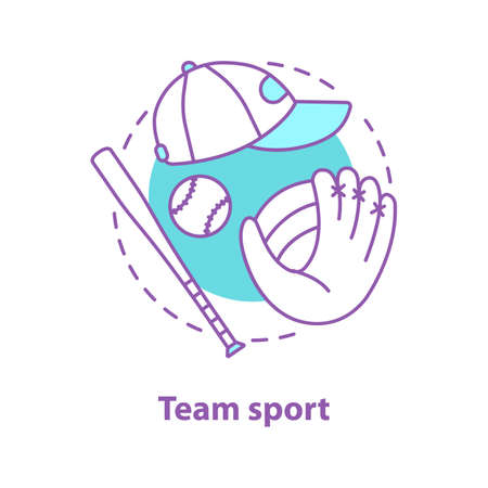 Baseball concept icon. Team sport idea thin line illustration. Baseball bat, ball, glove, cap. Vector isolated outline drawing