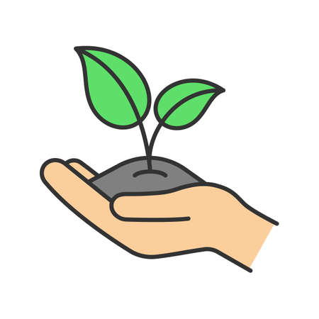 Greening color icon. Environment protection. Open hand with sprout. Agriculture. Isolated vector illustration