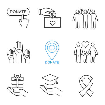 Charity linear icons set. Thin line contour symbols. Donate button, fundraising, charity organization location, family, gift, free education, anti HIV ribbon. Isolated vector outline illustrations