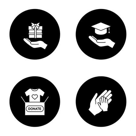 Charity glyph icons set. Present, affordable or free education, clothes donation, charity for children. Vector white silhouettes illustrations in black circles