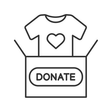 Clothes donating linear icon. Thin line illustration. Donation box with t-shirt. Used clothes. Charity contour symbol. Vector isolated outline drawing