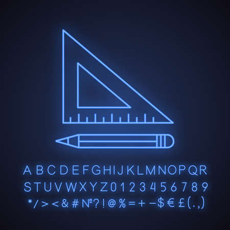 Triangular ruler with pencil neon light icon. Drafting glowing sign with alphabet, numbers and symbols. Vector isolated illustration