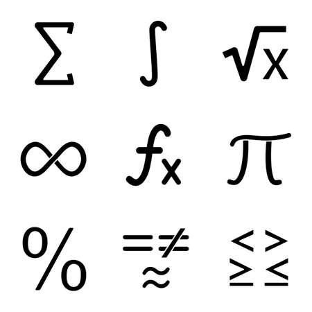Conjunto de iconos de glifo de matemáticas. Símbolos matemáticos. Álgebra. Símbolos de silueta. Vector ilustración aislada
