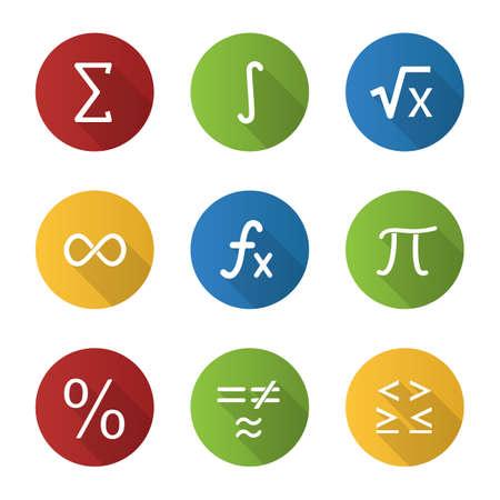 Conjunto de iconos de glifo de larga sombra de diseño plano de matemáticas. Símbolos matemáticos. Álgebra. Ilustración de silueta de vector