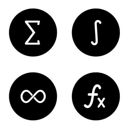 Wiskunde glyph pictogrammen instellen. Sigma, integraal, oneindigheidsteken, functie. Witte silhouetten vectorillustraties in zwarte cirkels