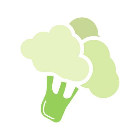 Icône de couleur de glyphe de branche de brocoli. Chou-fleur. Symbole de la silhouette sur fond blanc sans contour. Espace négatif. Illustration vectorielle