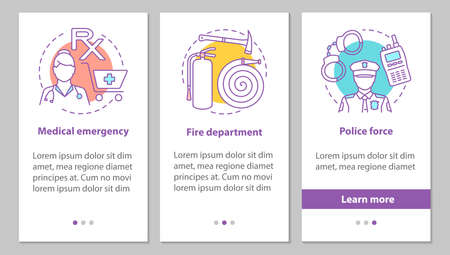 Public services onboarding mobile app page screen with concepts. Police force, firefighter department, medical emergency steps graphic instructions. UX, UI, GUI vector template with illustrations Illustration
