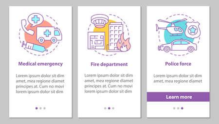 Écran de page d'application mobile d'intégration des services publics avec des concepts. Force de police, service des pompiers, instructions graphiques des étapes d'urgence médicale. Modèle vectoriel UX, UI, GUI avec illustrations