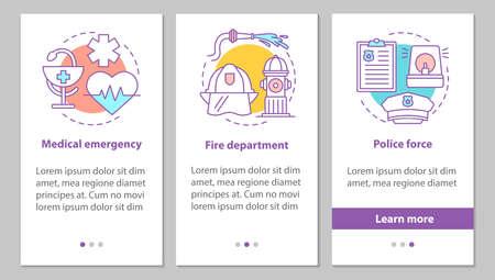 Écran de page d'application mobile d'intégration des services publics avec des concepts. Force de police, service des pompiers, instructions graphiques des étapes d'urgence médicale. Modèle vectoriel UX, UI, GUI avec illustrations Vecteurs
