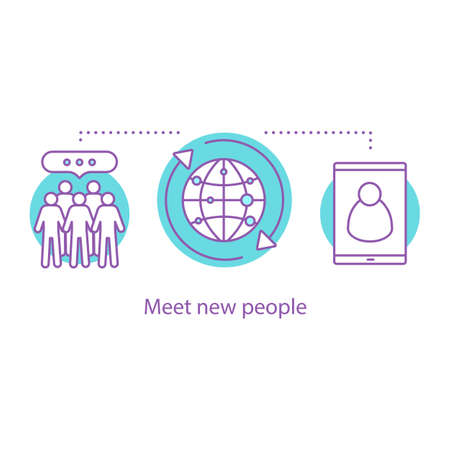 Social media concept icon. Networking idea thin line illustration. Make acquaintance. Meet new people. Vector isolated outline drawing