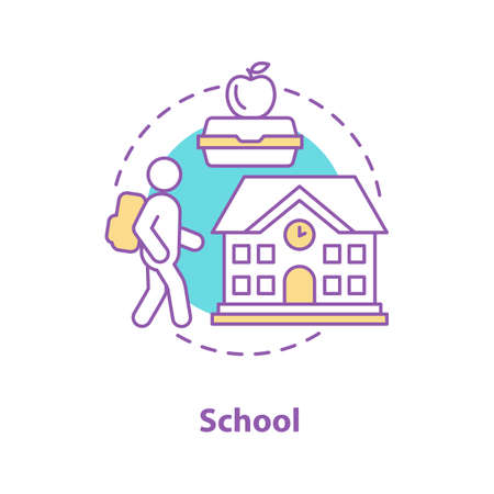 School concept icon. Education idea thin line illustration. Student, lunchbox, school building. Vector isolated outline drawing