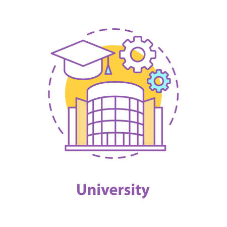 University concept icon. High education idea thin line illustration. Student's graduation hat, cogwheels, college building. Vector isolated outline drawing