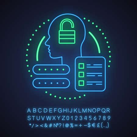 Cuenta creando icono de concepto de luz de neón. Perfil añadiendo idea. Registro de usuario. Signo brillante con alfabeto, números y símbolos. Vector ilustración aislada
