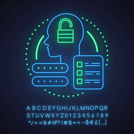Account creating neon light concept icon. Profile adding idea. User registration. Glowing sign with alphabet, numbers and symbols. Vector isolated illustration Illustration