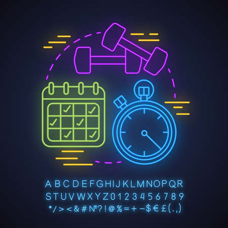 Gym neon light concept icon. Healthy lifestyle idea. Sport exercises. Fitness training plan. Glowing sign with alphabet, numbers and symbols. Vector isolated illustration Illusztráció