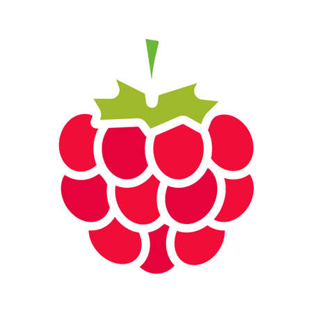 Raspberry glyph color icon. Silhouette symbol on white background with no outline. Negative space. Vector illustration Vektorgrafik