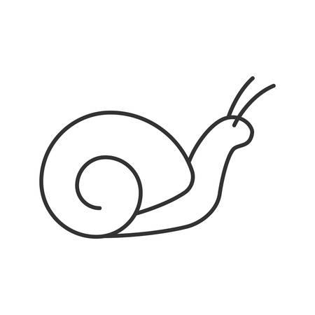 Ikona liniowej ślimaka. Cienka linia ilustracja. Zwolnione tempo. Ślimak. Kontur symbolu. Wektor na białym tle szkicu