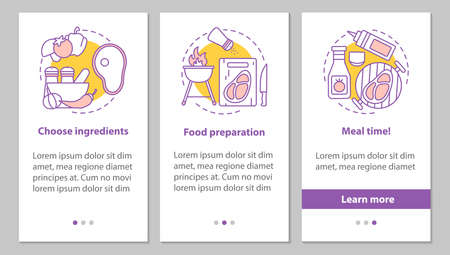 Cooking onboarding mobile app page screen with linear concepts. Choosing ingredients, food preparation, meal time steps graphic instructions. UX, UI, GUI vector template with illustrations