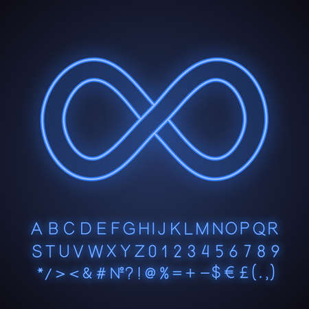 Infinity sign neon light icon. Lemniscate. Endless. Glowing sign with alphabet, numbers and symbols. Vector isolated illustration 向量圖像