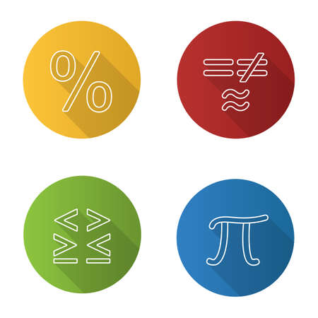 Mathematics flat linear long shadow icons set. Pi, percent, equality and inequalities signs. Vector outline illustration 写真素材 - 105756502